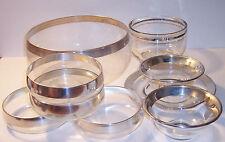 mid century silver rim glass thorpe era 9 salad punch fruit bowls plate dining