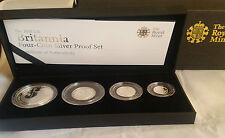 2008 Royal Mint Silver Proof Britannia Four Coin Set cased & COA