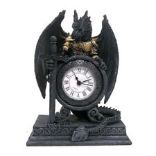 DRAGON IN ARMOUR WITH SWORD - DESK OR MANTEL CLOCK - CELTIC GOTHIC DESIGN - 20CM