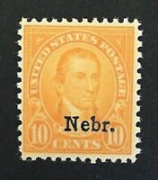 US Stamps, Scott #679 PSAG certification 10c 1929 Nebr. overprint VF/XF M/NH