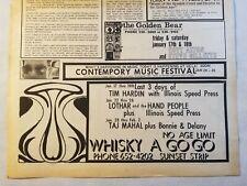 Vintage Ad Taj Mahal Whisky A Go Go Joni Mitchell 1969 LA FREE PRESS Unframed