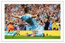 SERGIO Kun Aguero Manchester City calcio firmato Autograph Foto Stampa Calcio