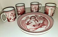 SPODE SONOMA ST NICK CHRISTMAS HOLIDAY 8 PIECE SET 4 CUPS 4 PLATES