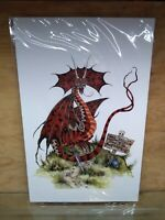 AMY BROWN ART RED DRAGON TRESPASSERS WILL BE DIGESTED RARE 11 X 17 PRINT