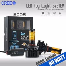 80 Watts H10/9145 9140 CREE LED Fog Light Conversion Kit Bulbs 3000K Yellow