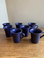 SET OF 7 Deep Purple Eggplant Stoneware Coffee Cups Mugs; Noritake?; EUC!