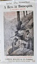 "1897 Book Poster RARE ""A Hero in Homespun"" Civil War Epic Confederates in TN"