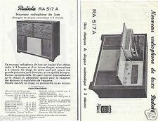 Publicité ancienne _Musique Radiola Radiophono de Luxe RA517A Fiche Technique