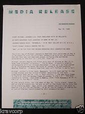 MICHAEL JACKSON '1ST U.S. TOUR CONCLUDES' 1988 PRESS RELEASE