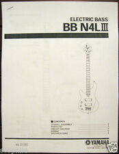 Yamaha BBN4 L III Left Handed Bass Guitar Service Manual and Parts List Booklet