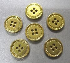 lot of 6, 11mm  Metal gold  4 Holes Buttons, shirt, blouse, top.