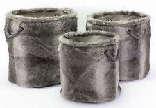 Fellkorb Korb Behälter Kunstfell Fell Aufbewahrung Deko Körbe Set oder Einzeln