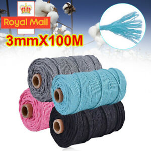 3mm*100m Macrame Rope Cotton Twisted Cord Hand Craft String DIY Home Decor W