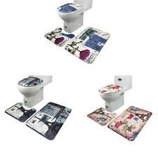 3Pcs Bathroom Non-Slip Ocean Style Pedestal Rug + Bath Mat +  Lid Toilet Cover