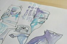 Original Drawing 11x14 Supreme Art Modern OUTSIDER GRAFFITI Contemporary Indie