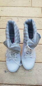 Ladies White Rock & Candy Canvas Wedge Boots Size 39