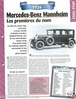 Mercedes-Benz Mannheim 300/350 6 Cyl. 1926 Germany Car Auto Retro FICHE FRANCE