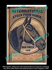 OLD LARGE PHOTO OF MINNEAPOLIS STOCK Co POSTER HORSE FOOD & DAN PATCH c1900