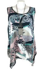 NWT AUTOGRAPH Top - Black White Pink Green Floral Geometric Chiffon Tank Cami 20