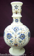 """10"""" Marble Flower Vase  Lapis Lazuli Inlay Marquetry Mosaic Christmas Gift H2086"""