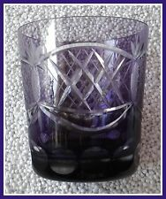 AMETHYST PURPLE PLUM Old Fashioned Glass Tumbler CUT TO CLEAR CRYSTAL Germany
