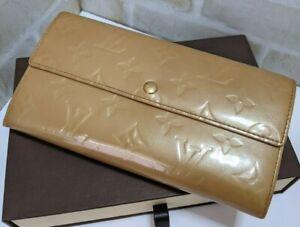 Auth LOUIS VUITTON Long Wallet Vernis Beige Monogram TH0065 Good Condition