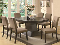 Modern Design Brown Finish 7pcs Round Oval Dining Room Table & Chairs Set IC7M