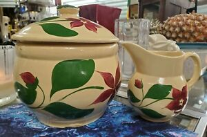Vintage Watt Pottery 5 Starflower Yelloware #21 Cookie Jar & Creamer Pitcher #15