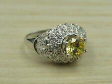 Zirconia Dome Cocktail Ring Sz 9.75 Meda Sterling Yellow Helidor and Cubic