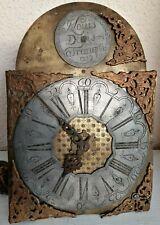 Mouvement Horloge XVIIIe Cadran Bronze 1789 Signature Mécanisme Antic Clock 18th