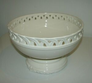 """Large 12"""" Footed Lattice Bowl Traditional Classic French Cottage Centerpiece"""