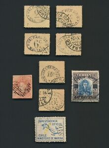 CHILE STAMPS 1867-1927 INC 1892 POSTAGE DUES, 1927 AIR Sc #C1, 1907 MARINA OFFCL