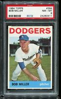 1964 Topps Baseball #394 BOB MILLER Los Angeles Dodgers PSA 8 NM-MT