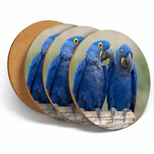 4 Set - Hyacinth Macaw Blue Bird Coasters - Kitchen Drinks Coaster Gift #12567