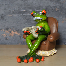 More details for comical frogs figurine grandad frog resin statue home decoration ornament