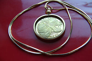 "GOLDEN Brass African Roaring Lion Proof Pendant on a 24"" Golden Snake Chain"