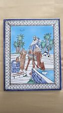 Hand Painted Decorative Ceramic Tile: Knighter and Woman Scene