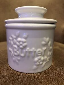 Ceramic Butter Dish Crock/Keeper French Bell Style - White & Perfect Condition
