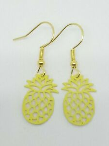 New Yellow Pineapple Charm Drop Dangle Earrings Quirky Kitsch Novelty Retro