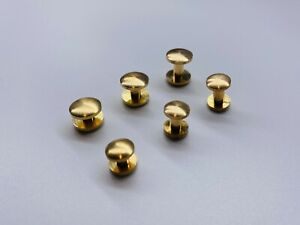Solid brass screw rivets curved head leather craft hardware -select size-
