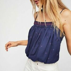 Free People Eternal Love Embroidered Cami Top Navy Tie Knot New Cropped M NEW