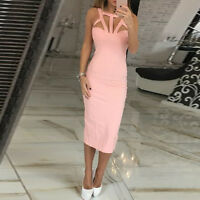 Women Casual Summer Bodycon Ladies Cocktail Party Evening Sleeveless Midi Dress