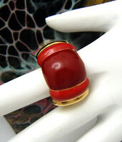 Gorgeous Vintage Signed CIRO Red Enamel Ring Gold Tone
