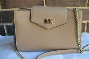 NWT$228 Michael Kors Large Convertible Crossbody Or Clutch Truffle Leather beige