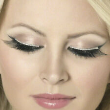 Long Black False Eyelashes with Glitter Eyeliner and Glue