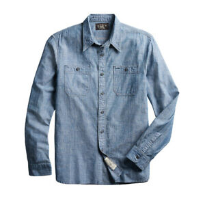 New RRL by Ralph Lauren Cameron Workshirt Chambray L/S Rinse