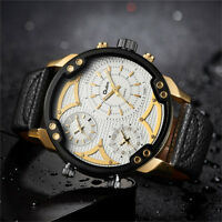 Oulm Men's 3 Movement Big Dial Leather Strap Military Sports Quartz Wrist Watch