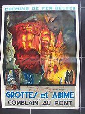 belle affiche ancienne 1920 grotte Comblain Ourthe spéléologie speleology cave