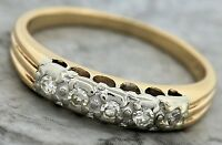 Ladies Vintage 14K 585 Yellow Gold 0.25ctw Diamond Eternity Wedding Band Ring