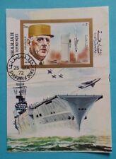 """Sharjah: Michel Block-Nr. 96 B """"Charles de Gaulle"""" 1972, gestempelt"""